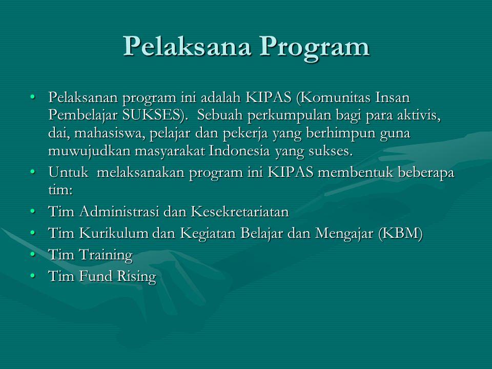 Pelaksana Program Pelaksanan program ini adalah KIPAS (Komunitas Insan Pembelajar SUKSES). Sebuah perkumpulan bagi para aktivis, dai, mahasiswa, pelaj
