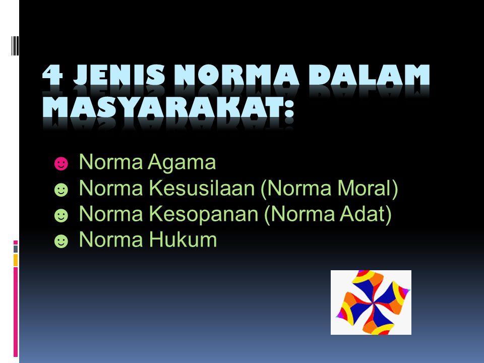☻ Norma Agama ☻ Norma Kesusilaan (Norma Moral) ☻ Norma Kesopanan (Norma Adat) ☻ Norma Hukum