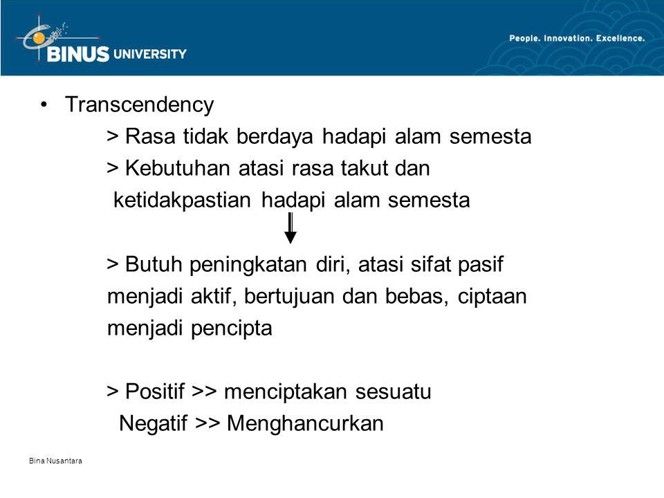 Bina Nusantara Transcendency > Rasa tidak berdaya hadapi alam semesta > Kebutuhan atasi rasa takut dan ketidakpastian hadapi alam semesta > Butuh peni