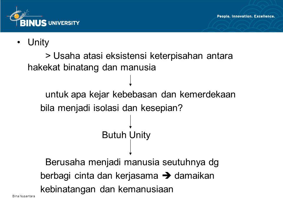 Bina Nusantara Unity > Usaha atasi eksistensi keterpisahan antara hakekat binatang dan manusia untuk apa kejar kebebasan dan kemerdekaan bila menjadi isolasi dan kesepian.
