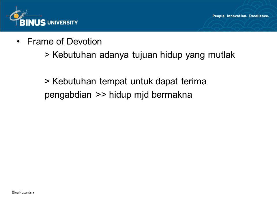 Bina Nusantara Frame of Devotion > Kebutuhan adanya tujuan hidup yang mutlak > Kebutuhan tempat untuk dapat terima pengabdian >> hidup mjd bermakna