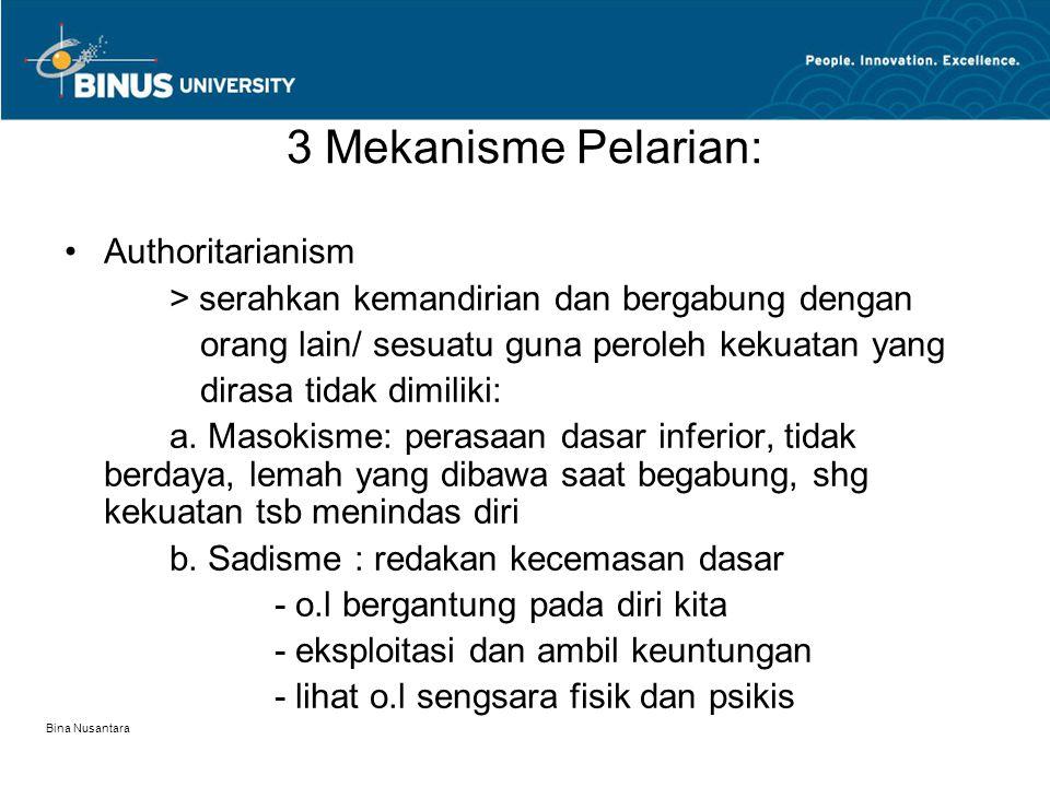 Bina Nusantara 3 Mekanisme Pelarian: Authoritarianism > serahkan kemandirian dan bergabung dengan orang lain/ sesuatu guna peroleh kekuatan yang dirasa tidak dimiliki: a.