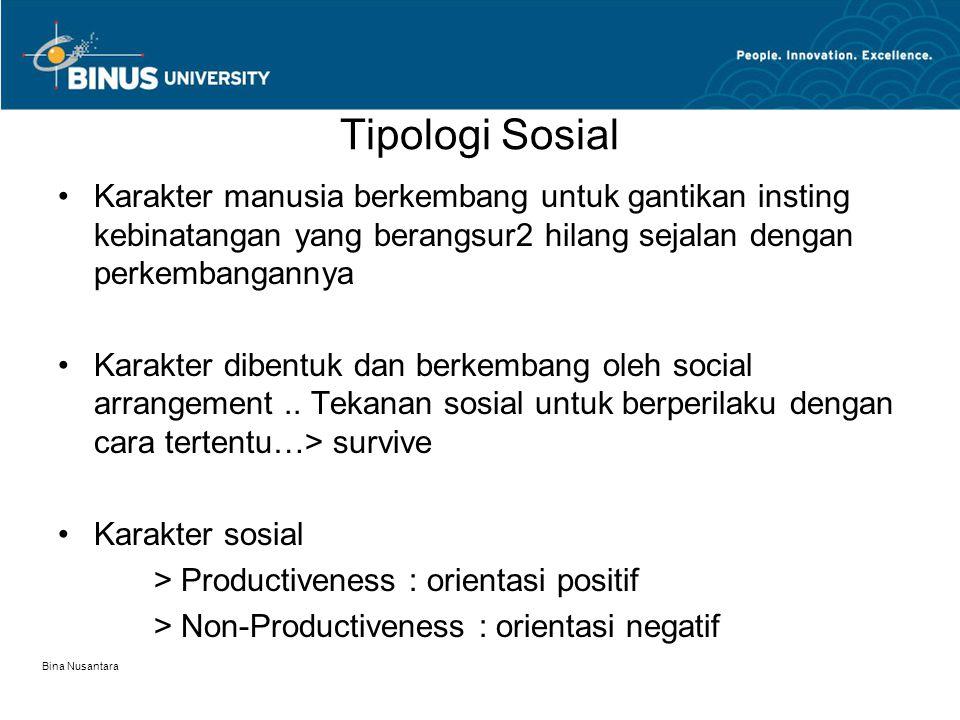 Bina Nusantara Tipologi Sosial Karakter manusia berkembang untuk gantikan insting kebinatangan yang berangsur2 hilang sejalan dengan perkembangannya Karakter dibentuk dan berkembang oleh social arrangement..