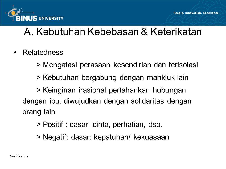Bina Nusantara A. Kebutuhan Kebebasan & Keterikatan Relatedness > Mengatasi perasaan kesendirian dan terisolasi > Kebutuhan bergabung dengan mahkluk l