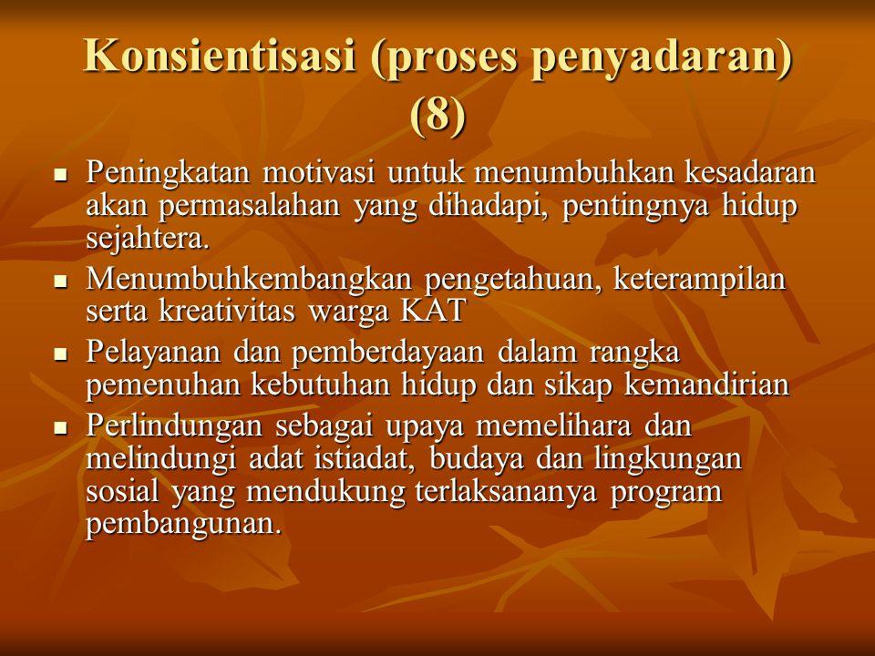 Konsientisasi (proses penyadaran) (8) Peningkatan motivasi untuk menumbuhkan kesadaran akan permasalahan yang dihadapi, pentingnya hidup sejahtera.