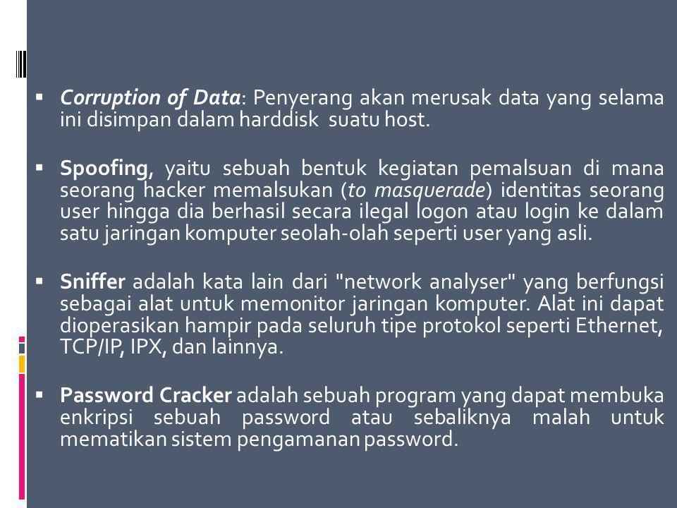  Corruption of Data: Penyerang akan merusak data yang selama ini disimpan dalam harddisk suatu host.  Spoofing, yaitu sebuah bentuk kegiatan pemalsu