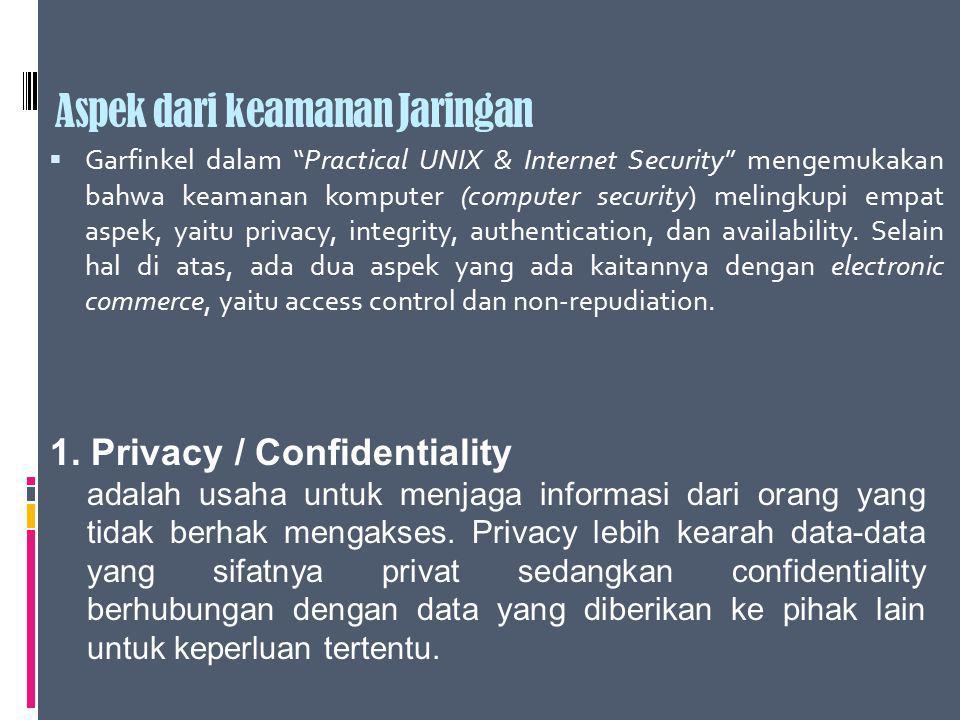 """Aspek dari keamanan Jaringan  Garfinkel dalam """"Practical UNIX & Internet Security"""" mengemukakan bahwa keamanan komputer (computer security) melingkup"""