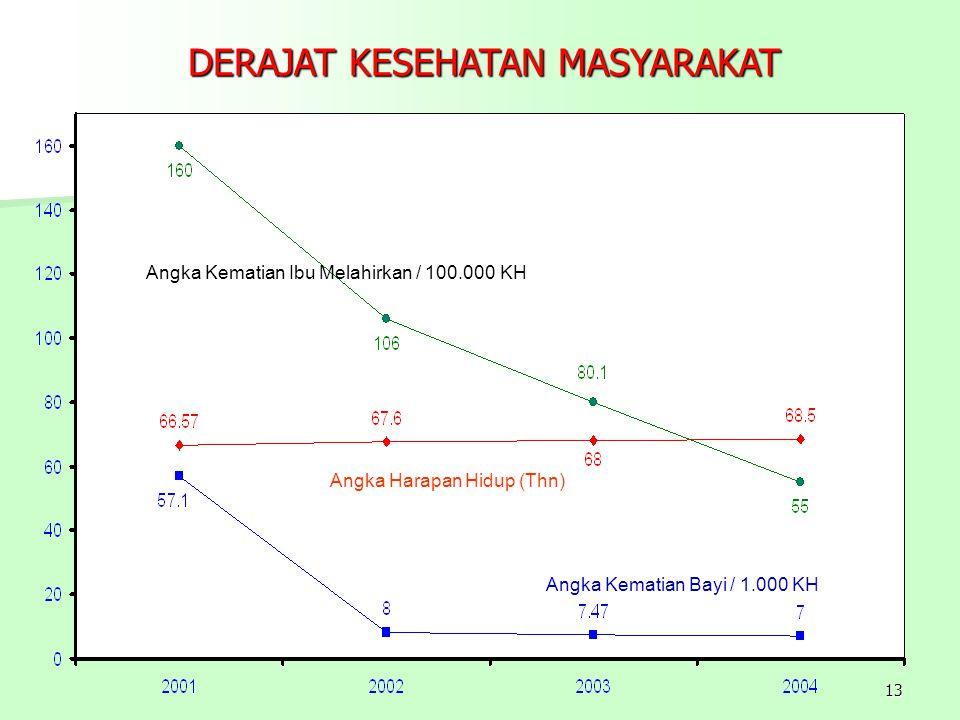 13 DERAJAT KESEHATAN MASYARAKAT Angka Kematian Bayi / 1.000 KH Angka Kematian Ibu Melahirkan / 100.000 KH Angka Harapan Hidup (Thn)