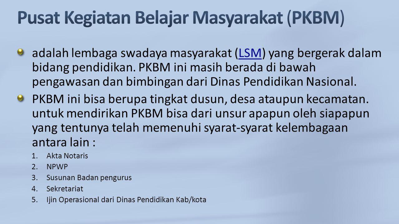 adalah lembaga swadaya masyarakat (LSM) yang bergerak dalam bidang pendidikan. PKBM ini masih berada di bawah pengawasan dan bimbingan dari Dinas Pend