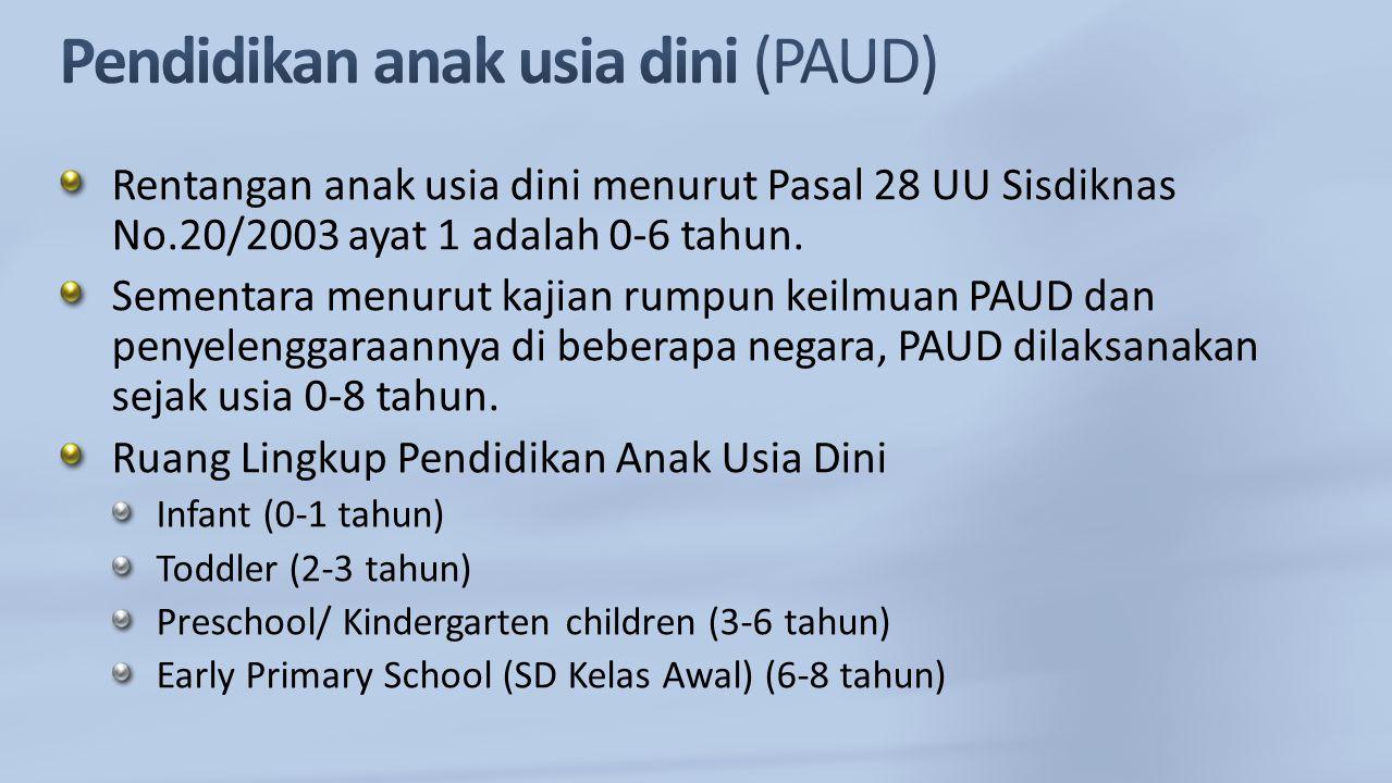 Rentangan anak usia dini menurut Pasal 28 UU Sisdiknas No.20/2003 ayat 1 adalah 0-6 tahun. Sementara menurut kajian rumpun keilmuan PAUD dan penyeleng