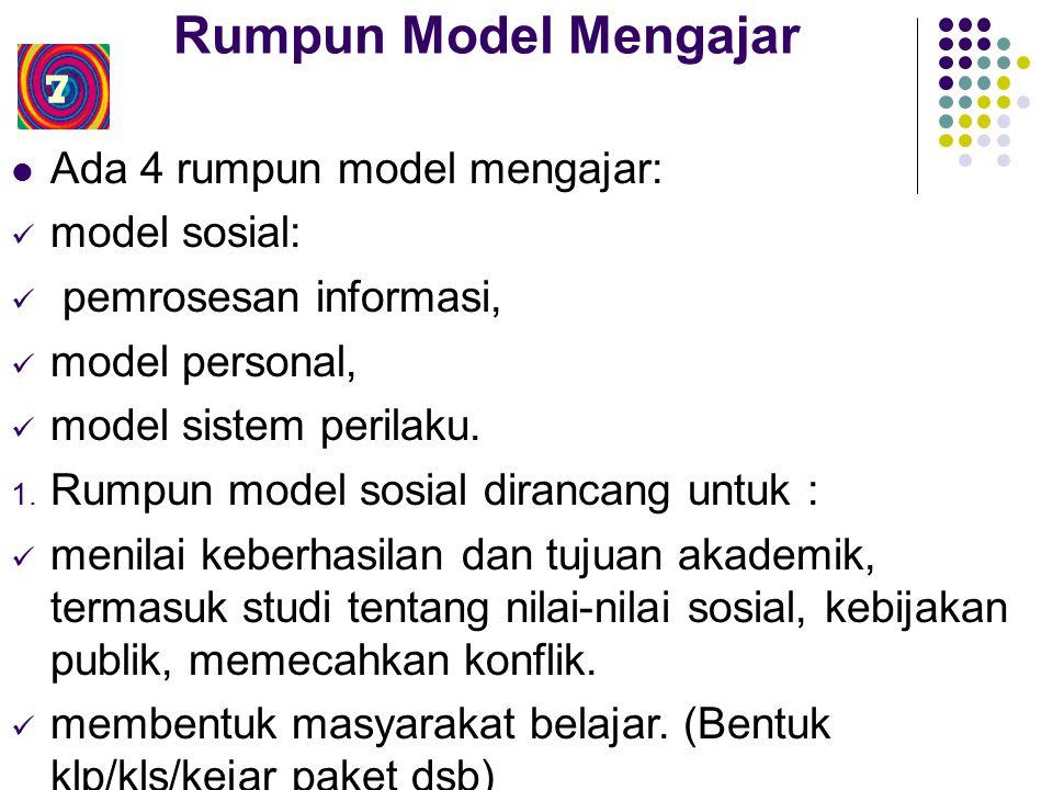 Rumpun Model Mengajar Ada 4 rumpun model mengajar: model sosial: pemrosesan informasi, model personal, model sistem perilaku.