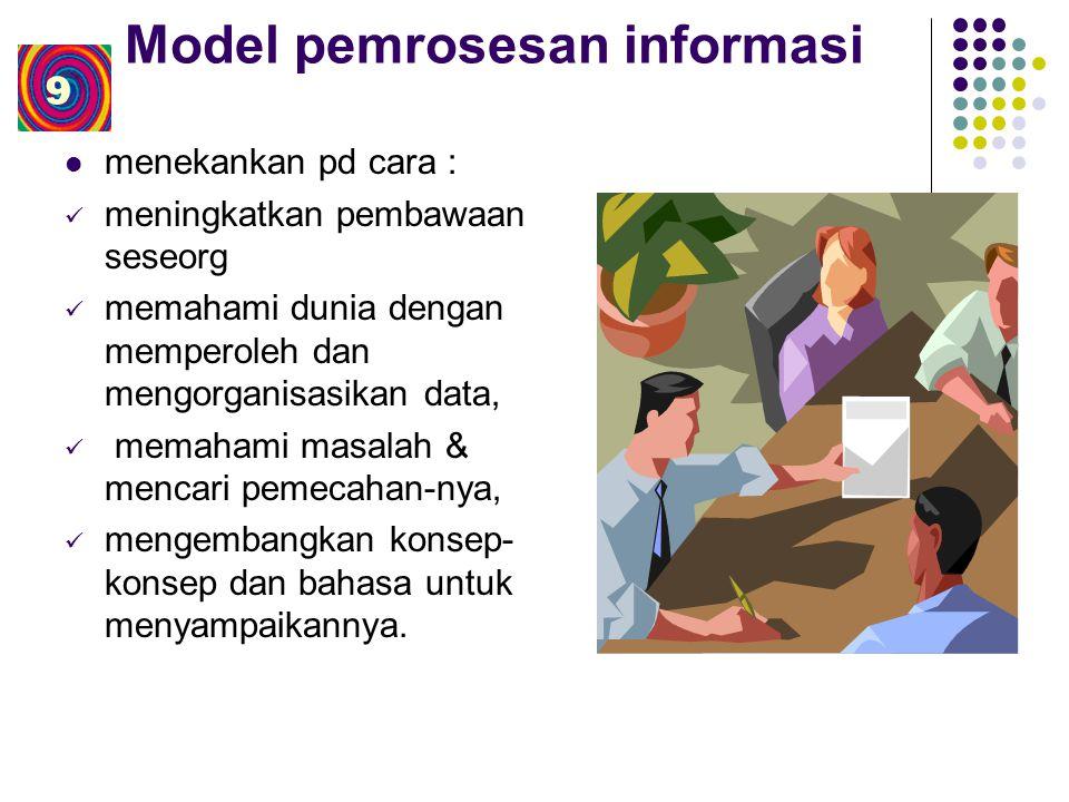 Model pemrosesan informasi menekankan pd cara : meningkatkan pembawaan seseorg memahami dunia dengan memperoleh dan mengorganisasikan data, memahami masalah & mencari pemecahan-nya, mengembangkan konsep- konsep dan bahasa untuk menyampaikannya.