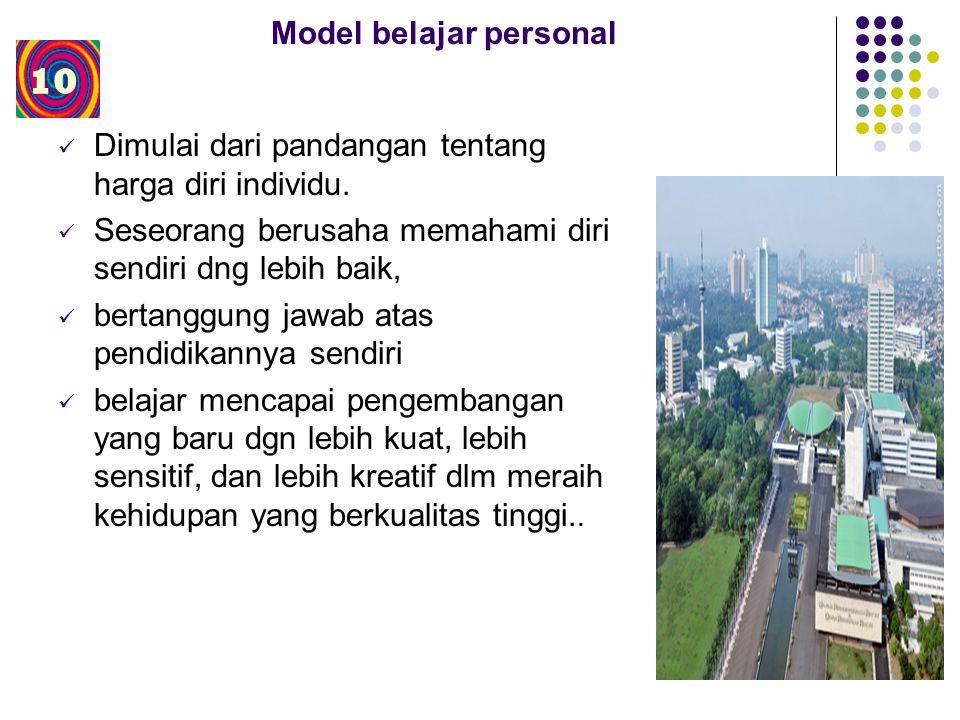 Model belajar personal Dimulai dari pandangan tentang harga diri individu.