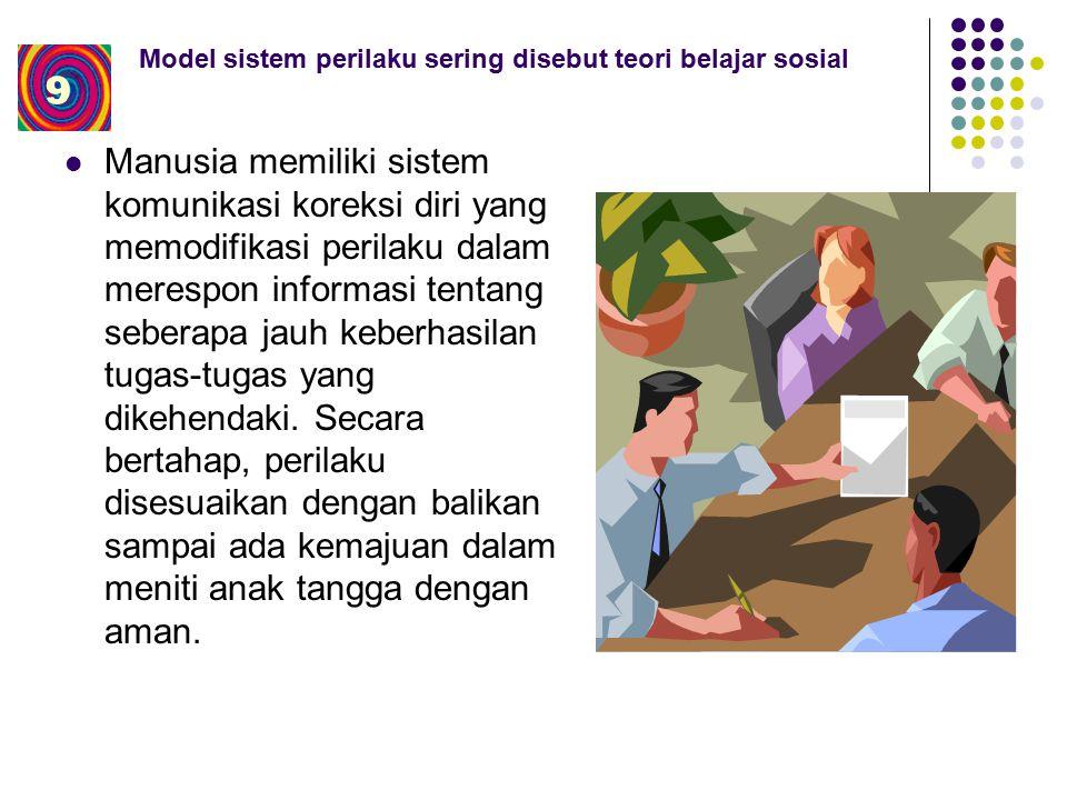 Model sistem perilaku sering disebut teori belajar sosial Manusia memiliki sistem komunikasi koreksi diri yang memodifikasi perilaku dalam merespon informasi tentang seberapa jauh keberhasilan tugas-tugas yang dikehendaki.
