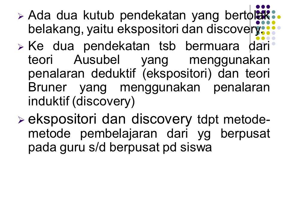  Ada dua kutub pendekatan yang bertolak belakang, yaitu ekspositori dan discovery.