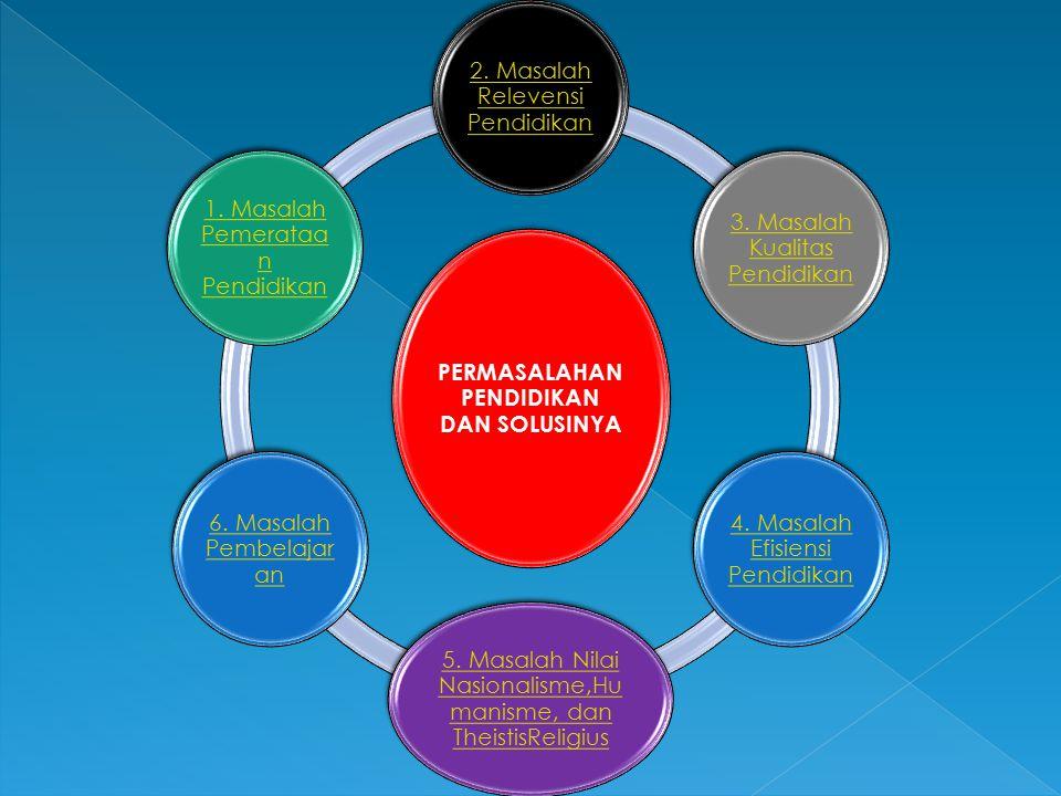 PERMASALAHAN PENDIDIKAN DAN SOLUSINYA 2. Masalah Relevensi Pendidikan 3. Masalah Kualitas Pendidikan 4. Masalah Efisiensi Pendidikan 5. Masalah Nilai