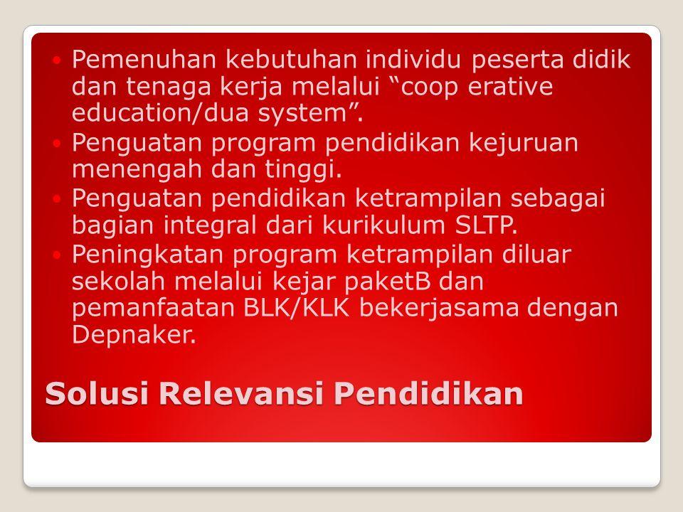 """Solusi Relevansi Pendidikan Pemenuhan kebutuhan individu peserta didik dan tenaga kerja melalui """"coop erative education/dua system"""". Penguatan program"""