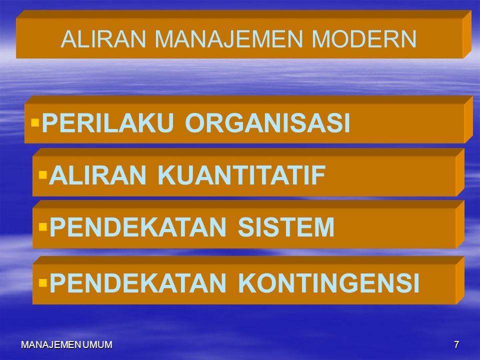 MANAJEMEN UMUM7 ALIRAN MANAJEMEN MODERN   PERILAKU ORGANISASI  ALIRAN KUANTITATIF  PENDEKATAN SISTEM  PENDEKATAN KONTINGENSI