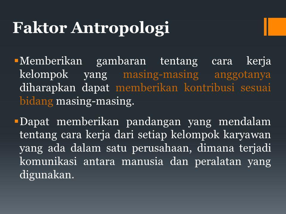 Faktor Antropologi  Memberikan gambaran tentang cara kerja kelompok yang masing-masing anggotanya diharapkan dapat memberikan kontribusi sesuai bidang masing-masing.