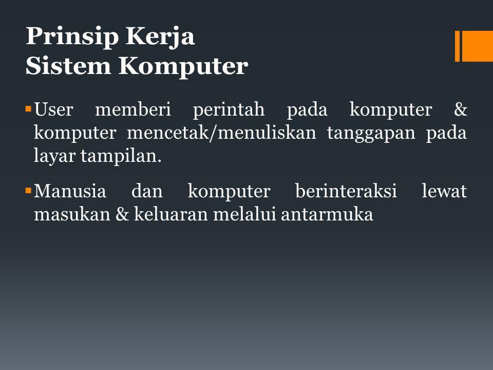 Prinsip Kerja Sistem Komputer  User memberi perintah pada komputer & komputer mencetak/menuliskan tanggapan pada layar tampilan.