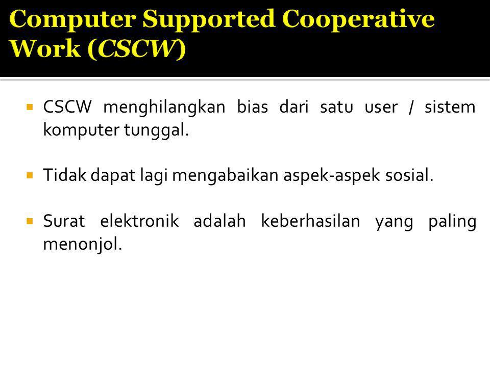  CSCW menghilangkan bias dari satu user / sistem komputer tunggal.
