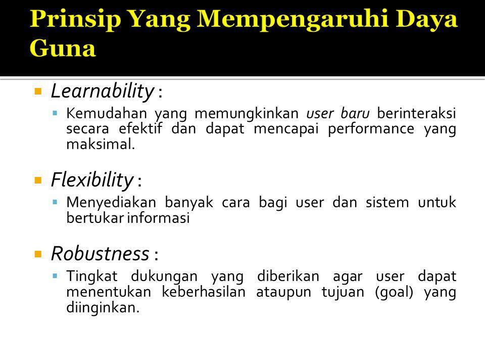  Learnability :  Kemudahan yang memungkinkan user baru berinteraksi secara efektif dan dapat mencapai performance yang maksimal.