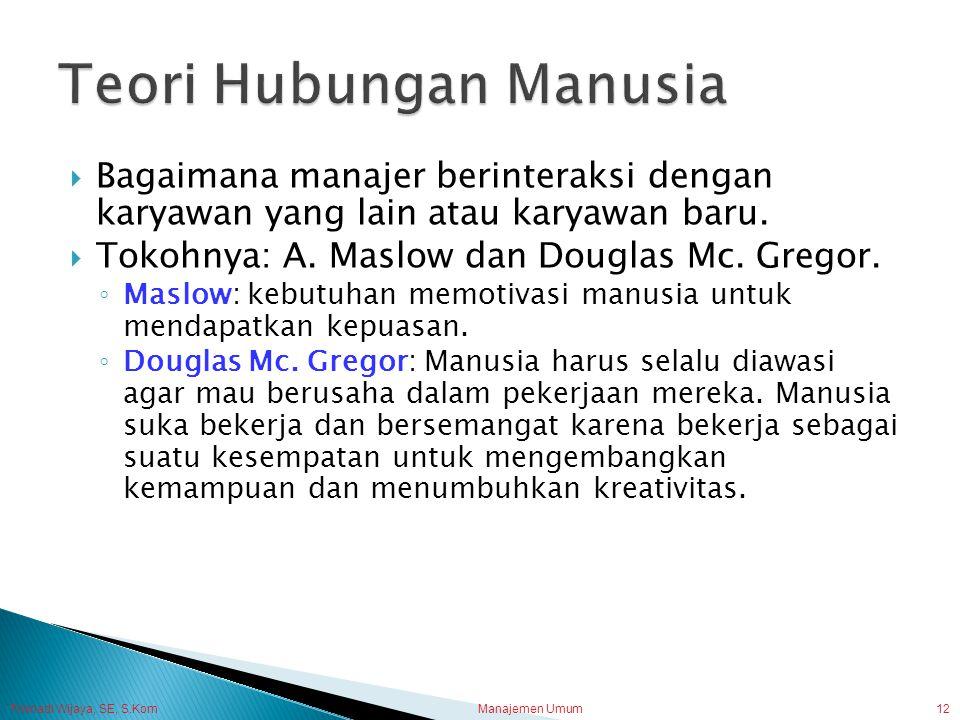 Trisnadi Wijaya, SE, S.Kom Manajemen Umum12  Bagaimana manajer berinteraksi dengan karyawan yang lain atau karyawan baru.  Tokohnya: A. Maslow dan D