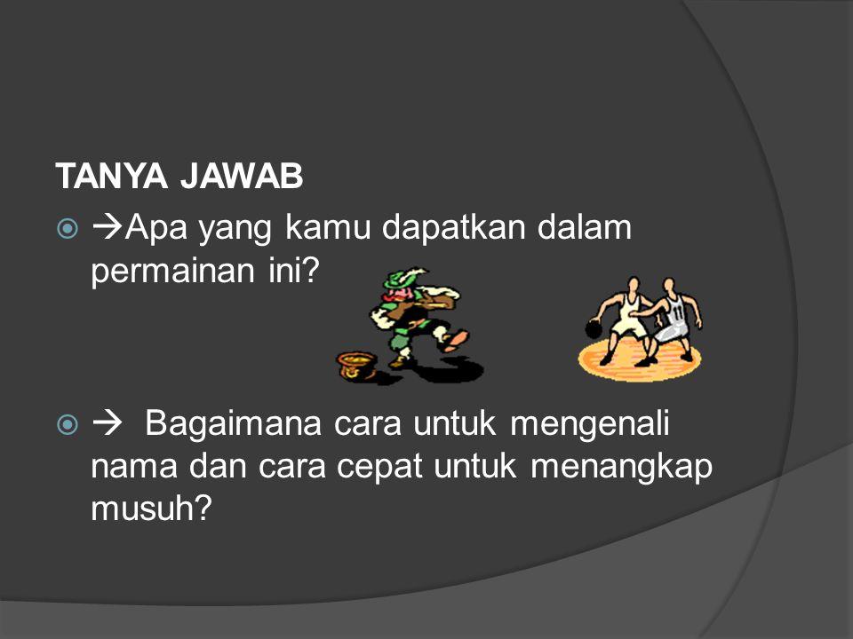 TANYA JAWAB   Apa yang kamu dapatkan dalam permainan ini?   Bagaimana cara untuk mengenali nama dan cara cepat untuk menangkap musuh?