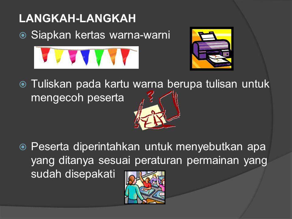 LANGKAH-LANGKAH  Siapkan kertas warna-warni  Tuliskan pada kartu warna berupa tulisan untuk mengecoh peserta  Peserta diperintahkan untuk menyebutk