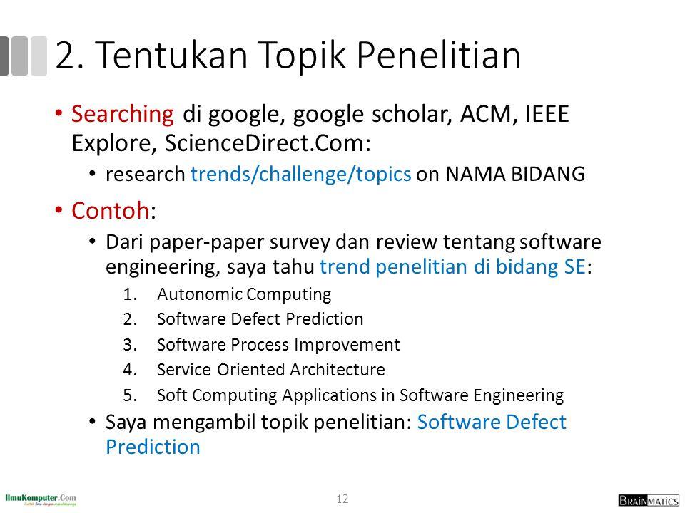 2. Tentukan Topik Penelitian Searching di google, google scholar, ACM, IEEE Explore, ScienceDirect.Com: research trends/challenge/topics on NAMA BIDAN