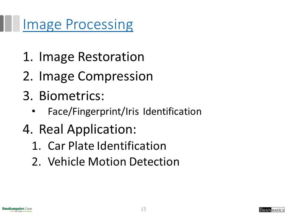 Image Processing 1.Image Restoration 2.Image Compression 3.Biometrics: Face/Fingerprint/Iris Identification 4.Real Application: 1.Car Plate Identifica
