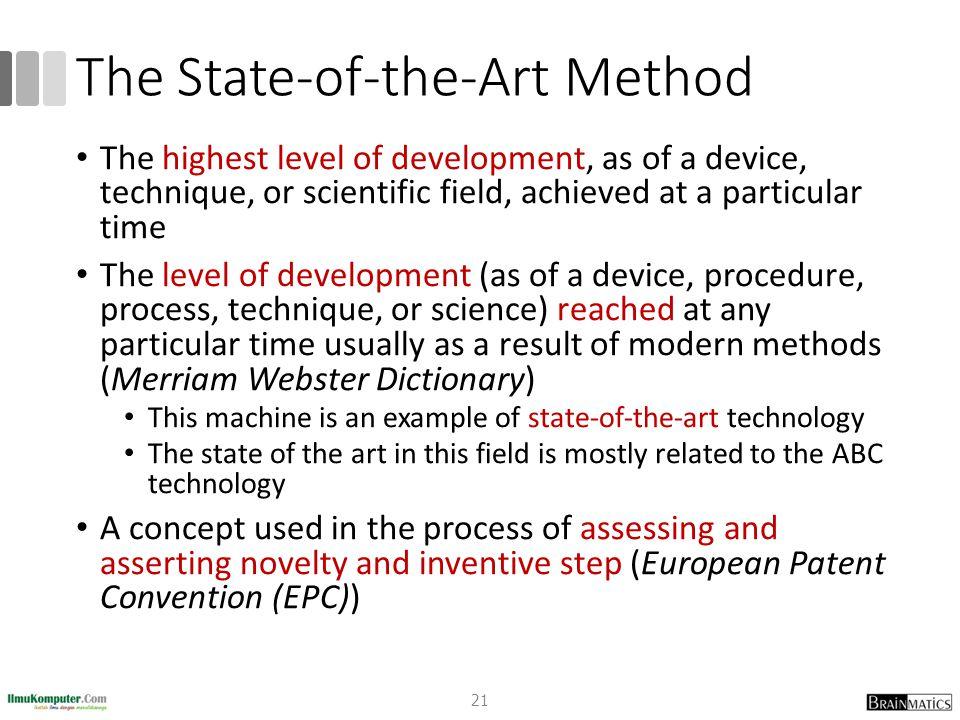 The State-of-the-Art Method The highest level of development, as of a device, technique, or scientific field, achieved at a particular time The level