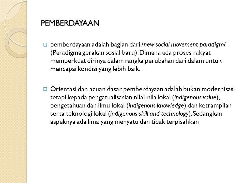 PEMBERDAYAAN  pemberdayaan adalah bagian dari /new social movement paradigm/ (Paradigma gerakan sosial baru).