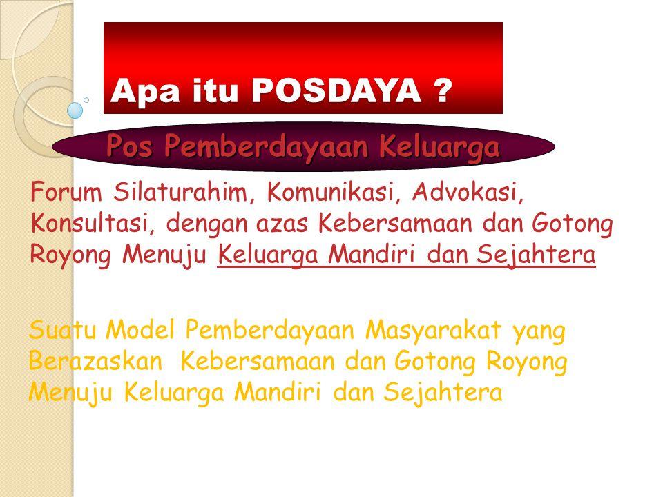 Apa itu POSDAYA ? Forum Silaturahim, Komunikasi, Advokasi, Konsultasi, dengan azas Kebersamaan dan Gotong Royong Menuju Keluarga Mandiri dan Sejahtera