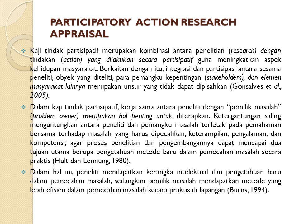 PARTICIPATORY ACTION RESEARCH APPRAISAL  Kaji tindak partisipatif merupakan kombinasi antara penelitian (research) dengan tindakan (action) yang dilakukan secara partisipatif guna meningkatkan aspek kehidupan masyarakat.