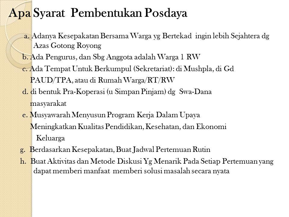 Apa Syarat Pembentukan Posdaya a.