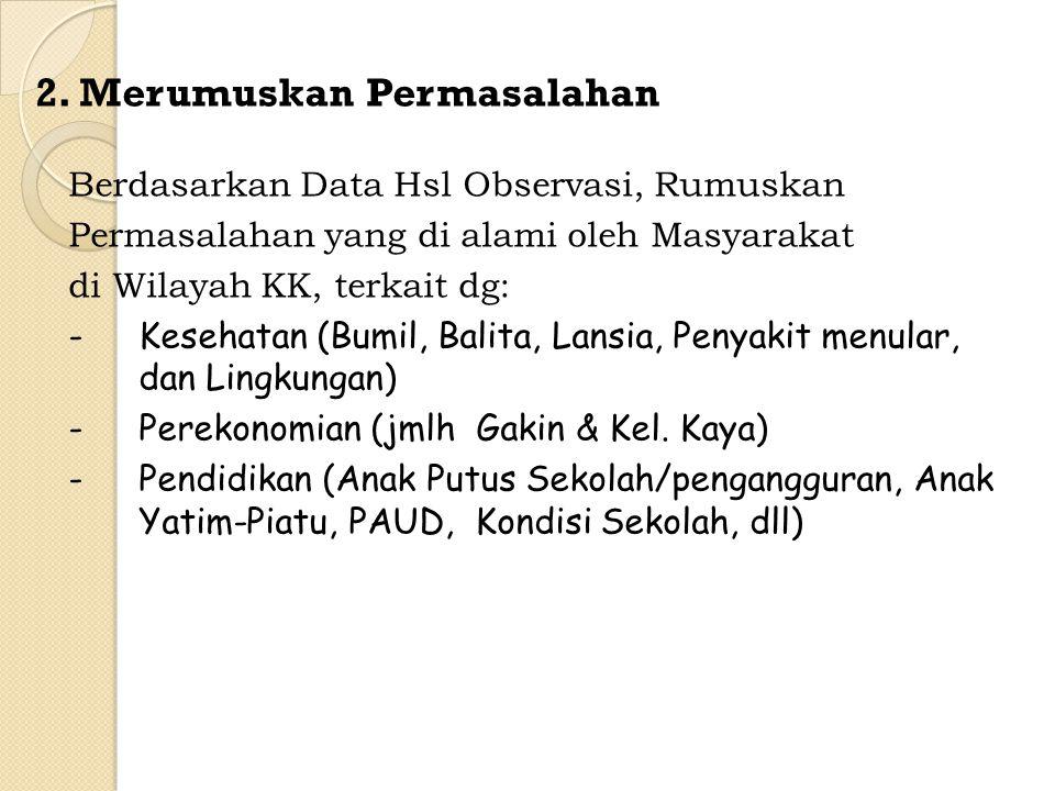 2. Merumuskan Permasalahan Berdasarkan Data Hsl Observasi, Rumuskan Permasalahan yang di alami oleh Masyarakat di Wilayah KK, terkait dg: -Kesehatan (