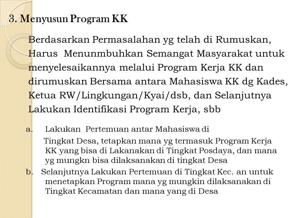 3. Menyusun Program KK a.Lakukan Pertemuan antar Mahasiswa di Tingkat Desa, tetapkan mana yg termasuk Program Kerja KK yang bisa di Lakanakan di Tingk