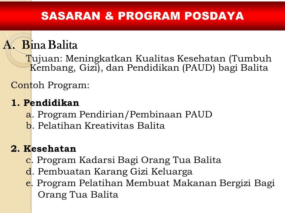 Tujuan: Meningkatkan Kualitas Kesehatan (Tumbuh Kembang, Gizi), dan Pendidikan (PAUD) bagi Balita Contoh Program: 1. Pendidikan a. Program Pendirian/P