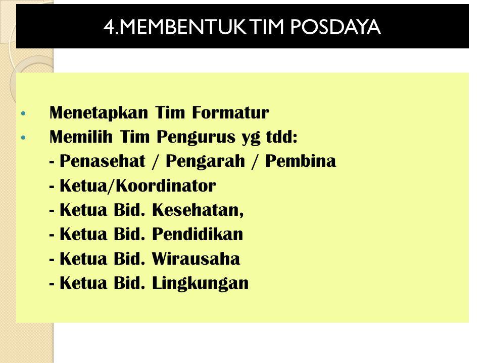 4.MEMBENTUK TIM POSDAYA Menetapkan Tim Formatur Memilih Tim Pengurus yg tdd: - Penasehat / Pengarah / Pembina - Ketua/Koordinator - Ketua Bid. Kesehat