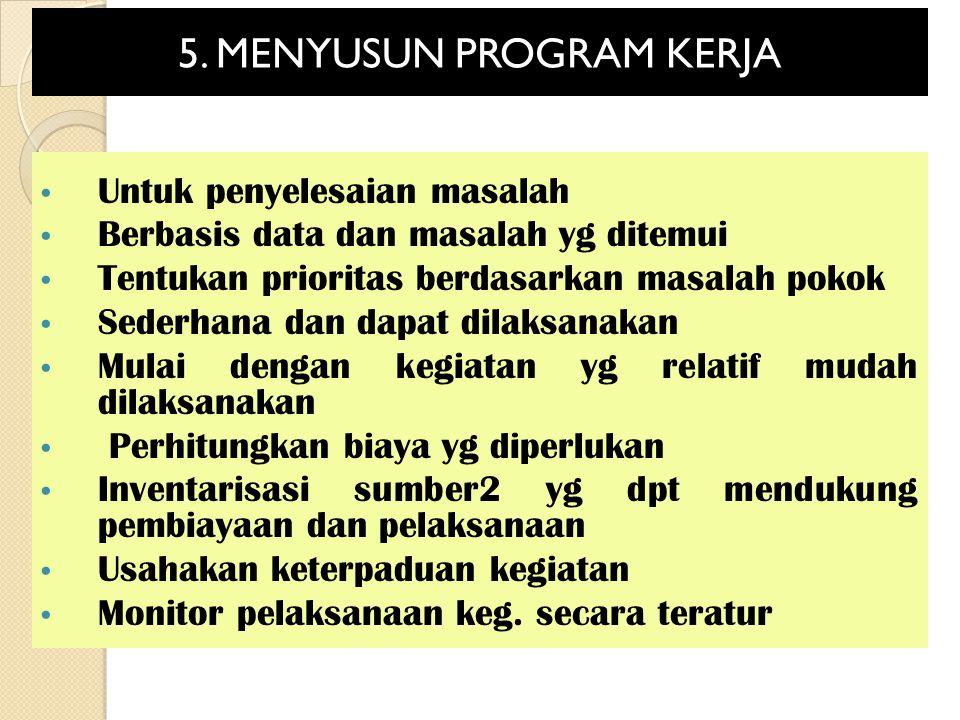 5. MENYUSUN PROGRAM KERJA Untuk penyelesaian masalah Berbasis data dan masalah yg ditemui Tentukan prioritas berdasarkan masalah pokok Sederhana dan d