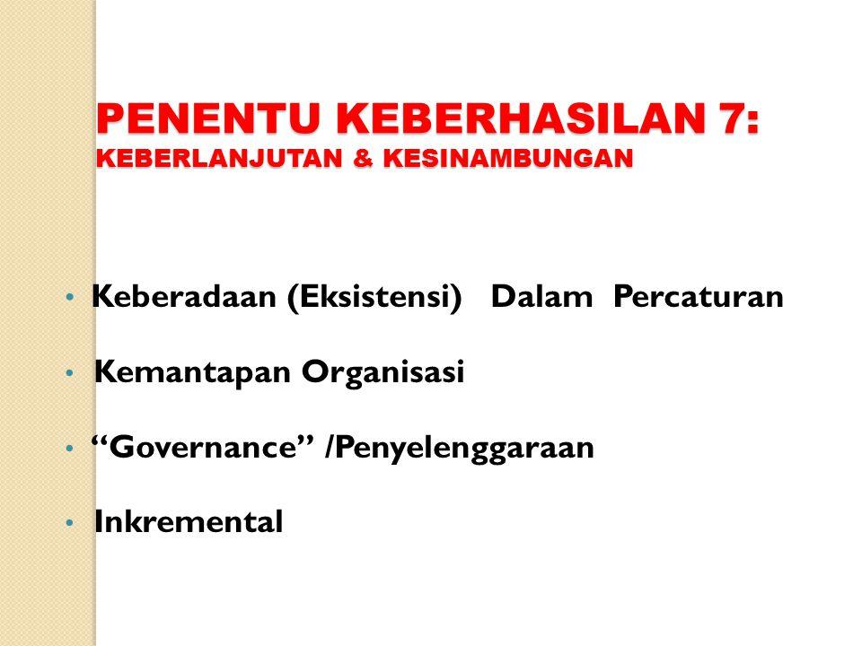 PENENTU KEBERHASILAN 7: KEBERLANJUTAN & KESINAMBUNGAN Keberadaan (Eksistensi) Dalam Percaturan Kemantapan Organisasi Governance /Penyelenggaraan Inkremental