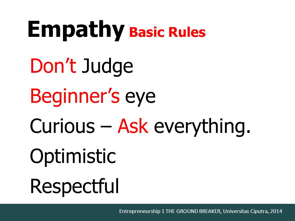 Don't Judge Beginner's eye Curious – Ask everything. Optimistic Respectful Empathy Basic Rules