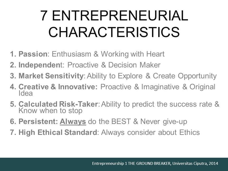 Entrepreneurship 1 THE GROUND BREAKER, Universitas Ciputra, 2014 immerse.