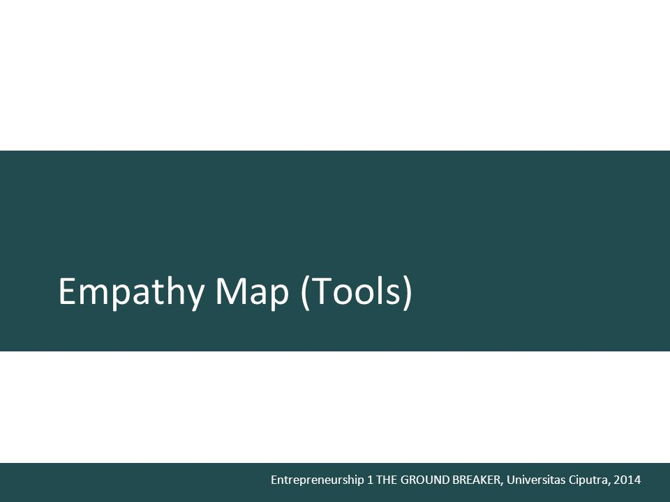 Entrepreneurship 1 THE GROUND BREAKER, Universitas Ciputra, 2014 Empathy Map (Tools)