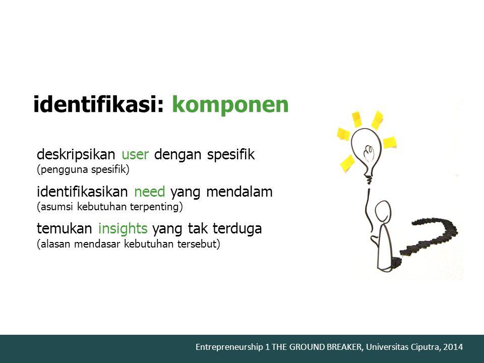 Entrepreneurship 1 THE GROUND BREAKER, Universitas Ciputra, 2014 deskripsikan user dengan spesifik (pengguna spesifik) identifikasikan need yang menda