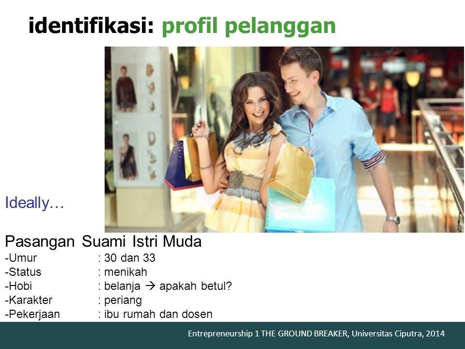 Entrepreneurship 1 THE GROUND BREAKER, Universitas Ciputra, 2014 identifikasi: profil pelanggan Ideally… Pasangan Suami Istri Muda -Umur: 30 dan 33 -S