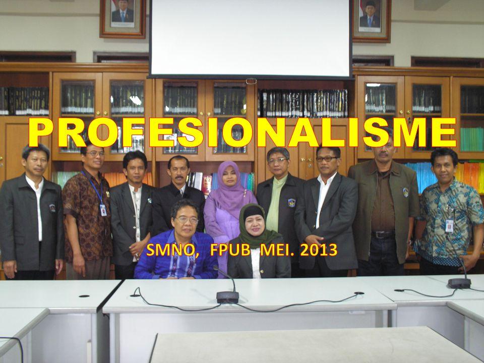PROFESIONALISME Profesionalisme (profésionalisme) ialah sifat-sifat (kemampuan, kemahiran, cara pelaksanaan sesuatu dan lain-lain) sebagaimana yang sewajarnya terdapat pada atau dilakukan oleh seorang profesional.