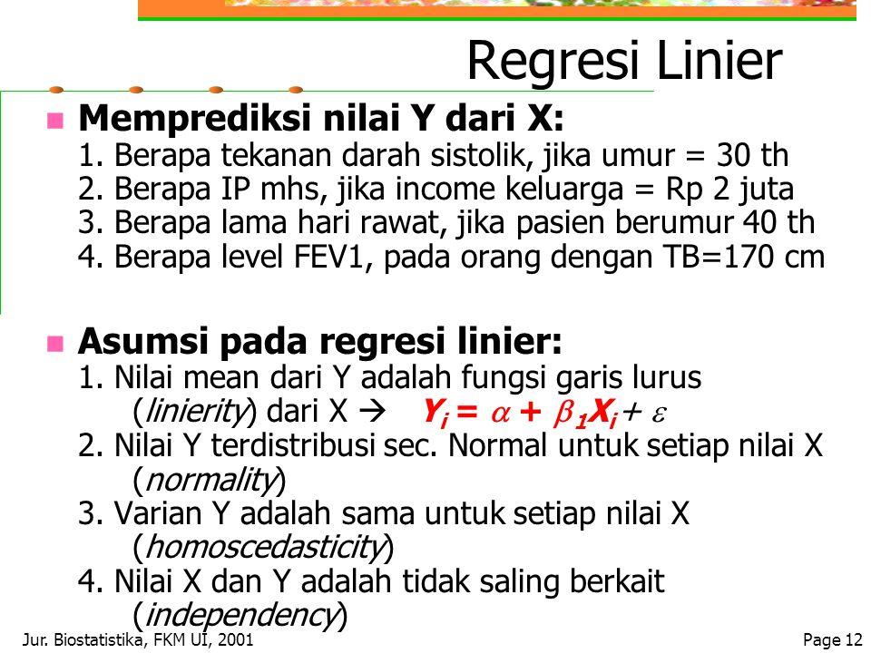 Jur. Biostatistika, FKM UI, 2001Page 12 Regresi Linier Memprediksi nilai Y dari X: 1. Berapa tekanan darah sistolik, jika umur = 30 th 2. Berapa IP mh