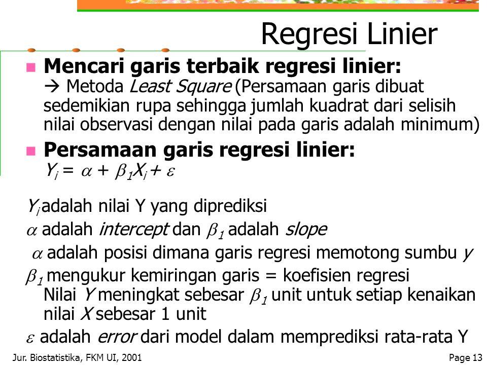 Jur. Biostatistika, FKM UI, 2001Page 13 Regresi Linier Mencari garis terbaik regresi linier:  Metoda Least Square (Persamaan garis dibuat sedemikian